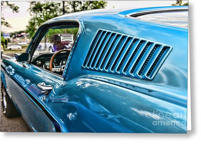 Mustang Art Greeting Cards - 1968 Ford Mustang Fastback in Blue Greeting Card by Paul Ward