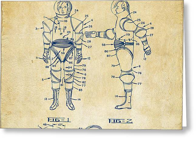 1968 Hard Space Suit Patent Artwork - Vintage Greeting Card by Nikki Marie Smith