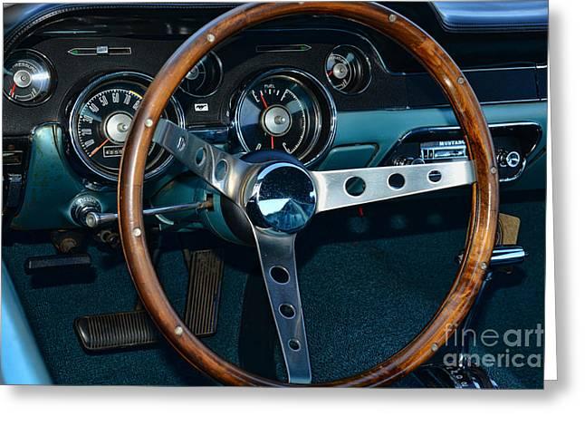 Dealership Greeting Cards - 1968 Mustang Fastback Steering Wheel Greeting Card by Paul Ward