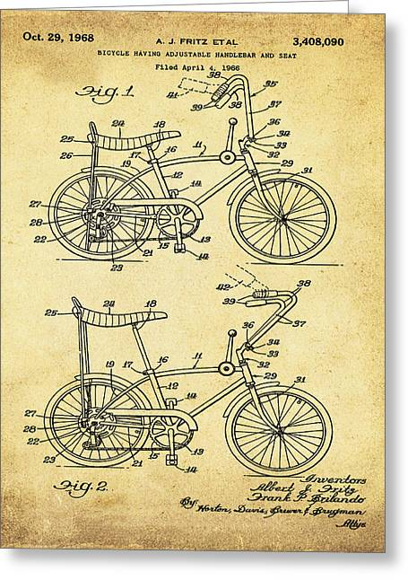 1968 Schwinn Stingray Patent In Sepia Greeting Card by Bill Cannon