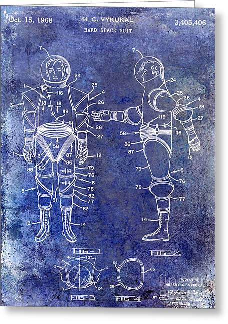 Neil Armstrong Greeting Cards - 1968 Space Suit Patent Blue Greeting Card by Jon Neidert