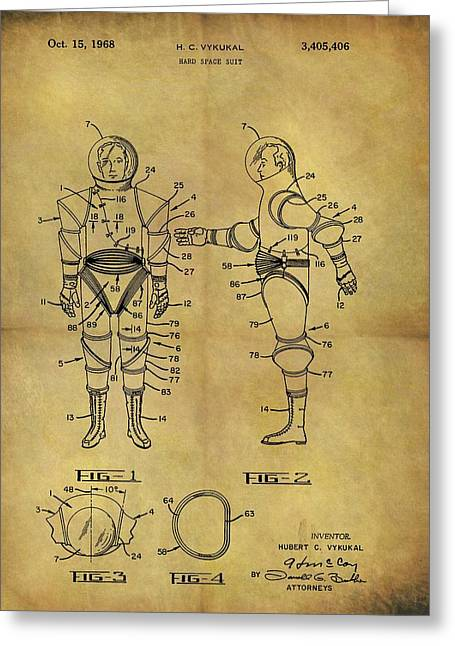 1968 Space Suit Patent Greeting Card by Dan Sproul