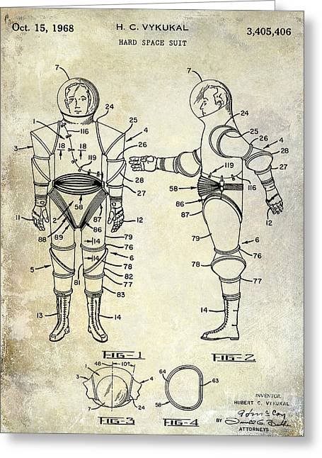 Nasa Space Shuttle Greeting Cards - 1968 Space Suit Patent Greeting Card by Jon Neidert