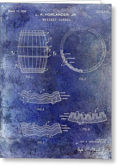 1968 Whiskey Barrel Patent Blue Greeting Card by Jon Neidert