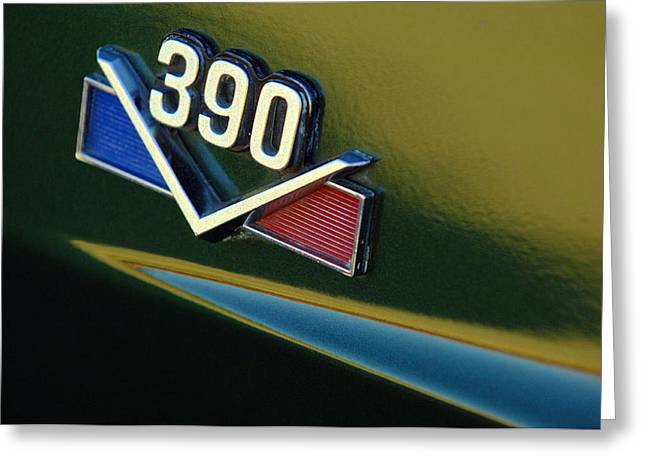 Car Detail Greeting Cards - 1969 AMX 390 American Motors Emblem Greeting Card by Jill Reger
