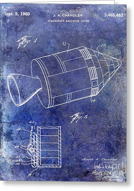 Neil Armstrong Greeting Cards - 1969 Apollo Spacecraft Patent Blue Greeting Card by Jon Neidert