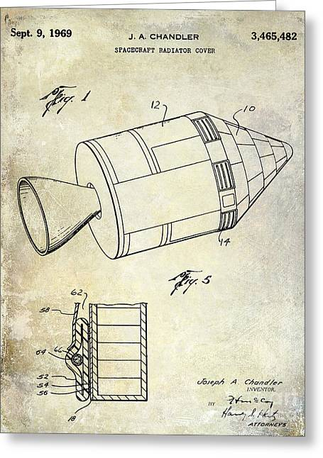 Neil Armstrong Greeting Cards - 1969 Apollo Spacecraft Patent Greeting Card by Jon Neidert