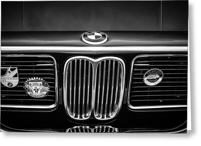 Cs Greeting Cards - 1969 BMW 2800 CS E-9 Series Grille -0342bw Greeting Card by Jill Reger