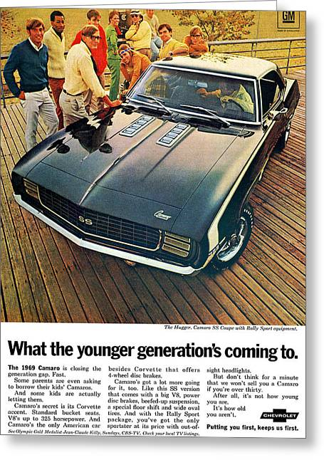 1969 Chevrolet Camaro Ss Greeting Card by Digital Repro Depot