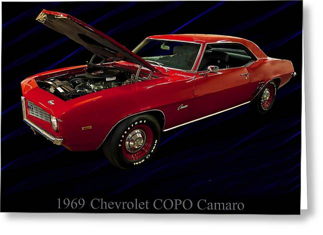 1960s Poster Art Greeting Cards - 1969 Chevy Camaro COPO 427 Greeting Card by Chris Flees