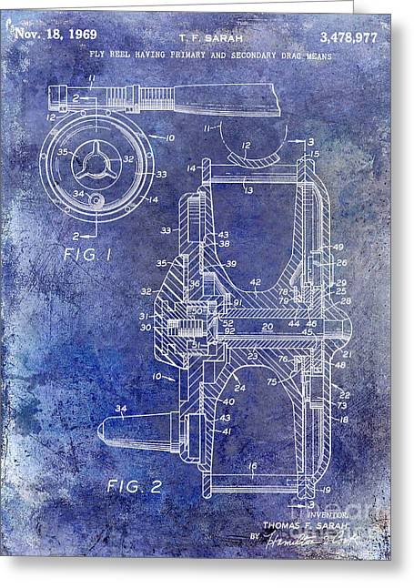 Kenai Greeting Cards - 1969 Fly Reel Patent Blue Greeting Card by Jon Neidert