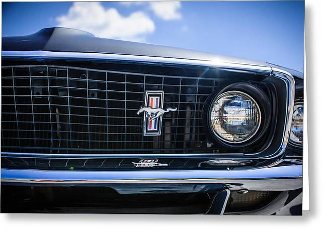 Famous Photographers Greeting Cards - 1969 Ford Mustang Grille Emblem -0129c Greeting Card by Jill Reger