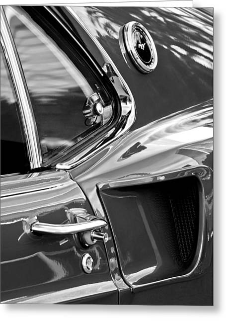 1969 Ford Mustang Mach 1 Side View -1098bw Greeting Card by Jill Reger