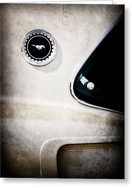 Mach I Greeting Card featuring the photograph 1969 Ford Mustang Mach I Side Emblem -0456ac by Jill Reger