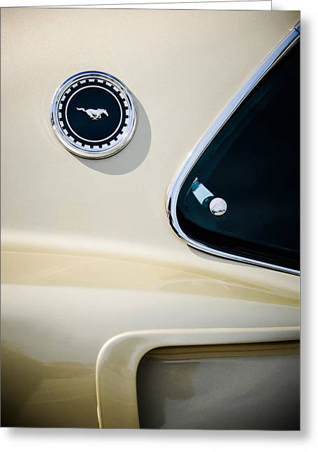 Mach I Greeting Card featuring the photograph 1969 Ford Mustang Mach I Side Emblem -0456c by Jill Reger
