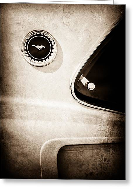 Mach I Greeting Card featuring the photograph 1969 Ford Mustang Mach I Side Emblem -0456s by Jill Reger