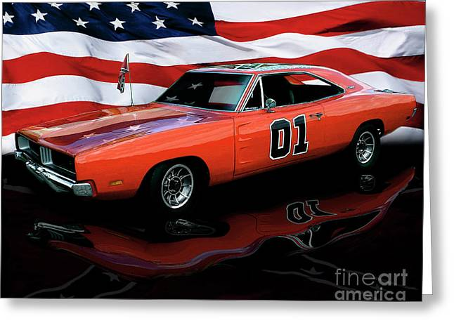 Dukes Of Hazard Show Greeting Cards - 1969 General Lee Greeting Card by Peter Piatt
