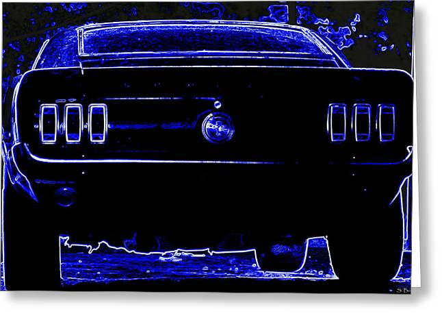 1969 Mustang in Neon 2 Greeting Card by Susan Bordelon
