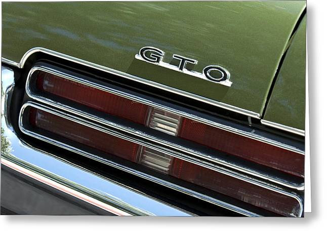1969 Greeting Cards - 1969 Pontiac GTO Taillight Emblem Greeting Card by Jill Reger