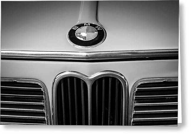 Famous Photographer Greeting Cards - 1970 Bmw 2002 Hood Emblem -0300bw1 Greeting Card by Jill Reger