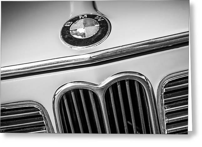 Famous Photographer Greeting Cards - 1970 Bmw 2002 Hood Emblem -0300bw2 Greeting Card by Jill Reger