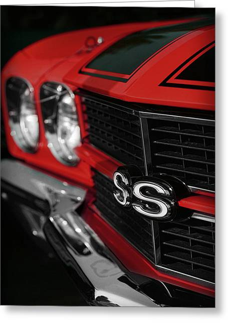 V8 Chevelle Greeting Cards - 1970 Chevelle SS396 SS 396 Red Greeting Card by Gordon Dean II