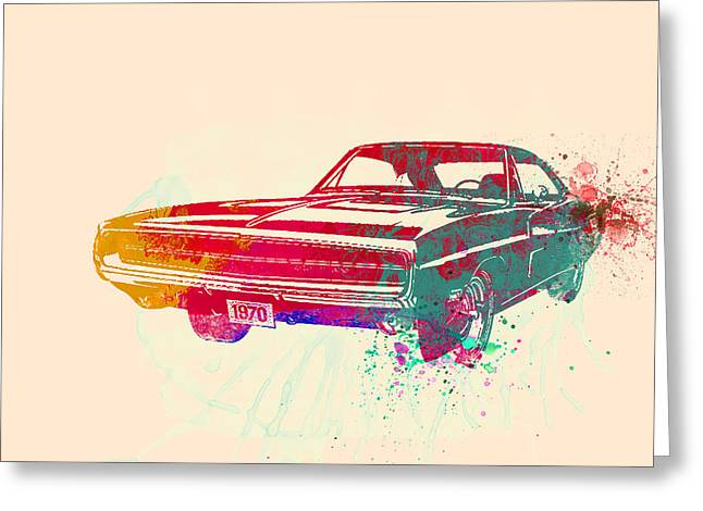 Muscles Greeting Cards - 1970 Dodge Charger 1 Greeting Card by Naxart Studio