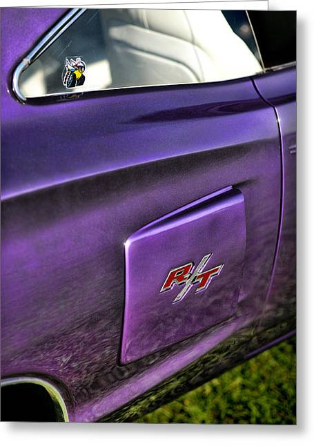 Dodge Coronet Super Bee Greeting Cards - 1970 Dodge Coronet RT - Plum Crazy Purple Greeting Card by Gordon Dean II