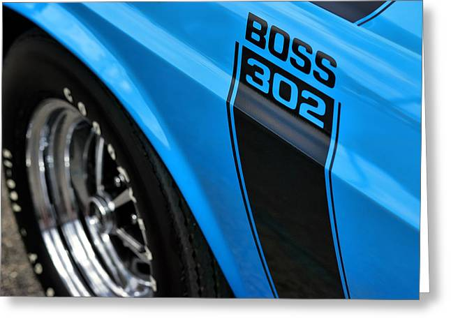 Drag-race Greeting Cards - 1970 Ford Mustang Boss 302 Greeting Card by Gordon Dean II