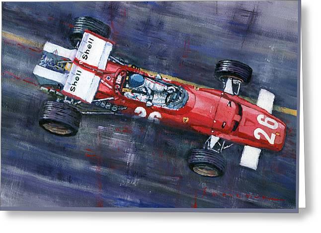 1970 Monaco Gp Ferrari 312 B Jacky Ickx  Greeting Card by Yuriy Shevchuk