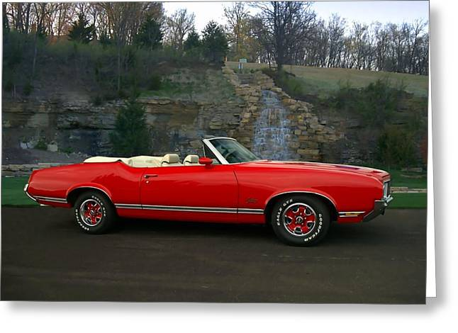 Teemack Greeting Cards - 1970 Oldsmobile Cutlass Supreme Convertible Greeting Card by Tim McCullough