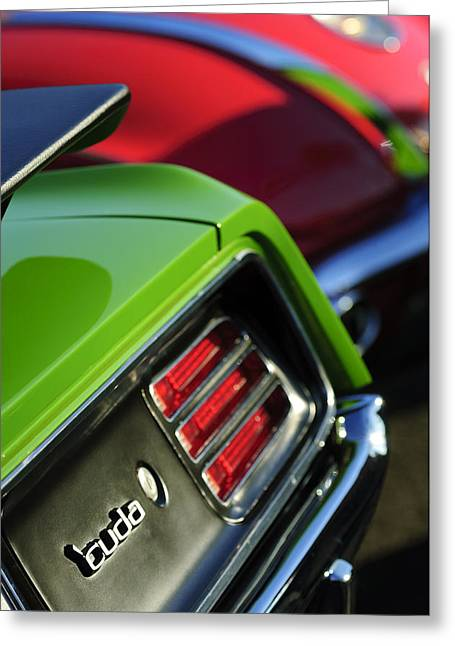 Cuda Greeting Cards - 1970 Plymouth Barracuda Cuda Taillight Emblem Greeting Card by Jill Reger