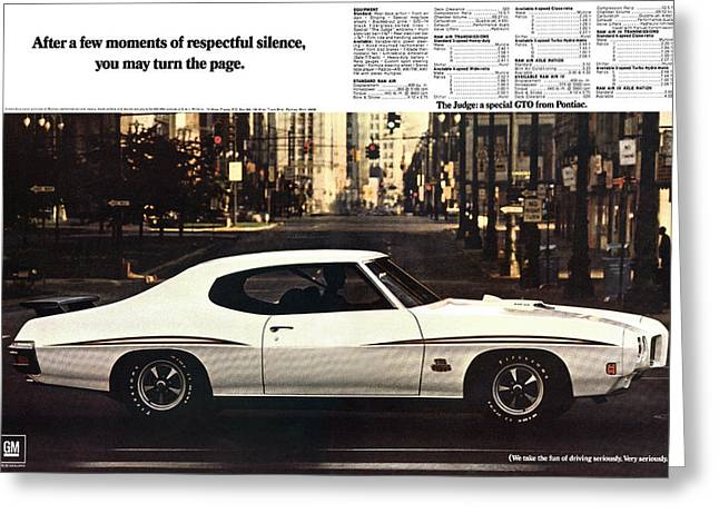 1970 Pontiac Gto The Judge  Greeting Card by Digital Repro Depot