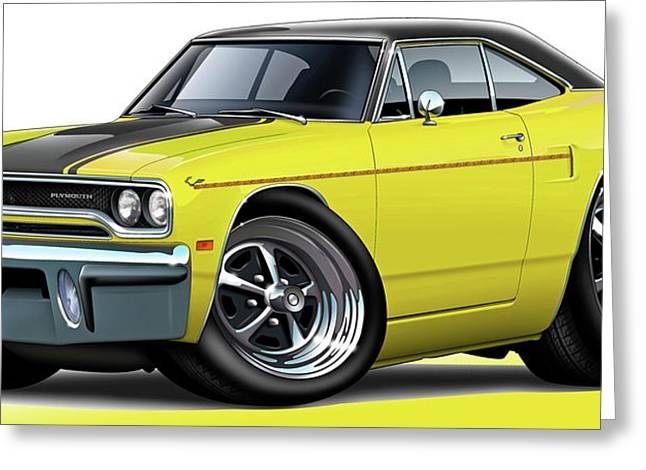 1970 Roadrunner Yellow Car Greeting Card by Maddmax