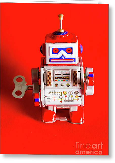 1970s Wind Up Dancing Robot Greeting Card by Jorgo Photography - Wall Art Gallery