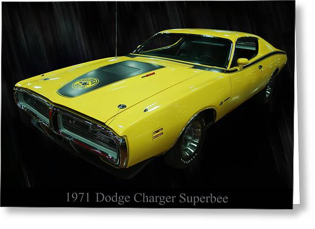 Super Bee Greeting Cards - 1971 Dodge Charger Superbee Greeting Card by Chris Flees