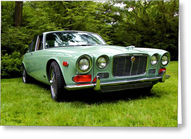 Collector Hood Ornament Greeting Cards - 1971 Jaguar X J 6 Greeting Card by Allen Beatty
