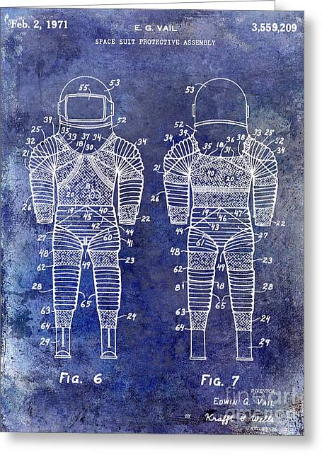 Neil Armstrong Greeting Cards - 1971 Space Suit Patent Blue Greeting Card by Jon Neidert