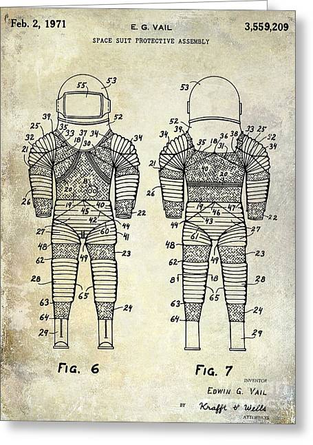 Nasa Space Shuttle Greeting Cards - 1971 Space Suit Patent  Greeting Card by Jon Neidert
