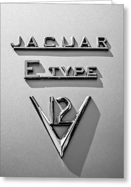 E Black Greeting Cards - 1972 Jaguar E-Type V12 Roadster Emblem -0286bw Greeting Card by Jill Reger