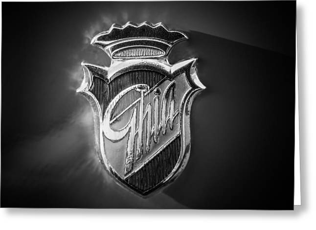 Famous Photographer Greeting Cards - 1972 Maserati Ghibli SS Spyder Ghia Emblem -0111bw Greeting Card by Jill Reger