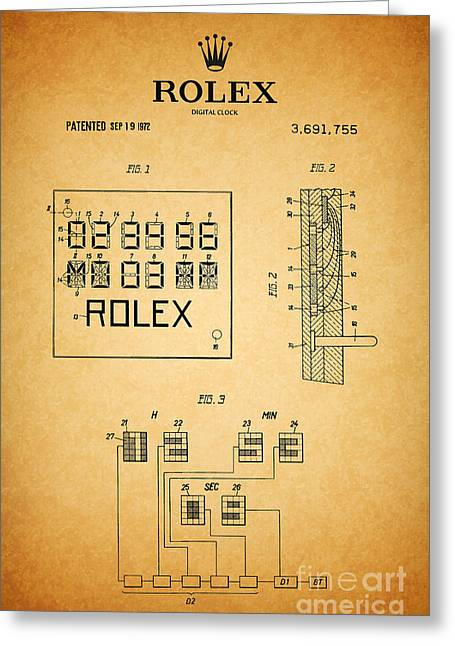 Calendar Drawings Greeting Cards - 1972 Rolex Digital Clock Patent 1 Greeting Card by Nishanth Gopinathan