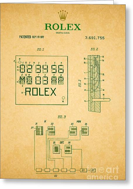 Calendar Drawings Greeting Cards - 1972 Rolex Digital Clock Patent 2 Greeting Card by Nishanth Gopinathan