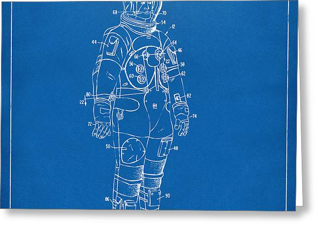 1973 Astronaut Space Suit Patent Artwork - Blueprint Greeting Card by Nikki Marie Smith