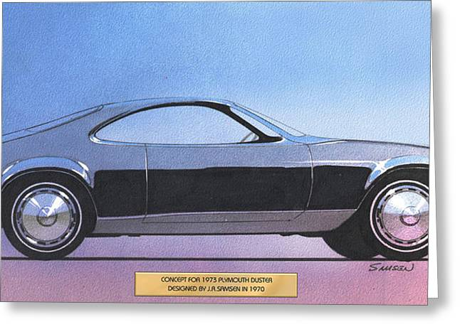 Automotive History Greeting Cards - 1973 DUSTER  Plymouth  vintage styling design concept sketch Greeting Card by John Samsen
