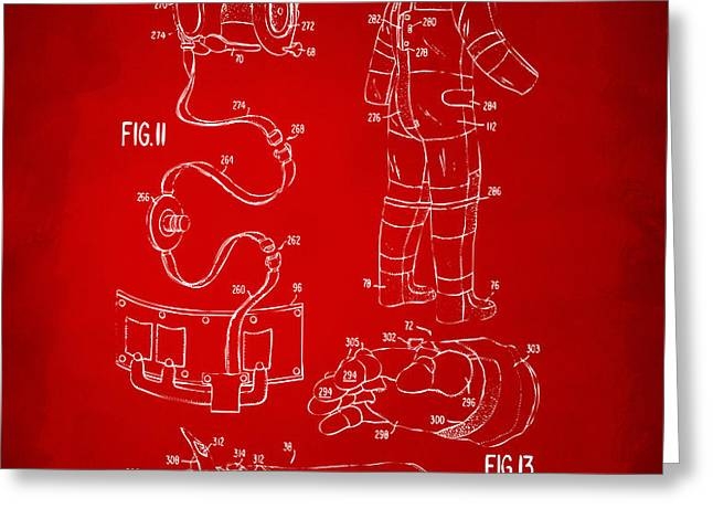 1973 Space Suit Elements Patent Artwork - Red Greeting Card by Nikki Marie Smith