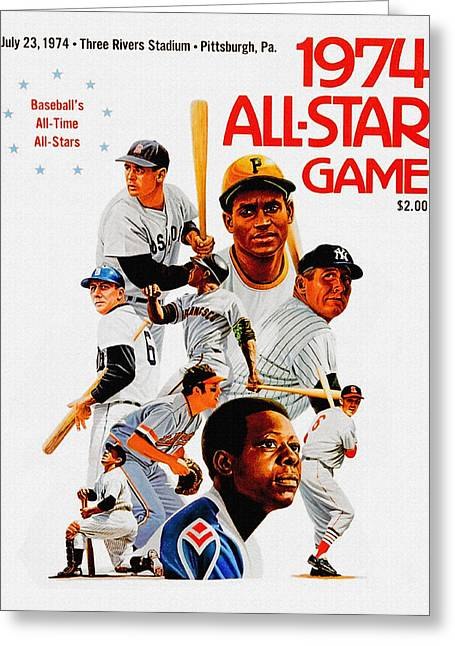 Roberto Clemente Paintings Greeting Cards - 1974 Baseball All Star Game Program Greeting Card by Big 88 Artworks