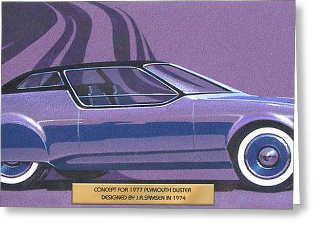Automotive History Greeting Cards - 1974 DUSTER  Plymouth styling design concept sketch Greeting Card by John Samsen