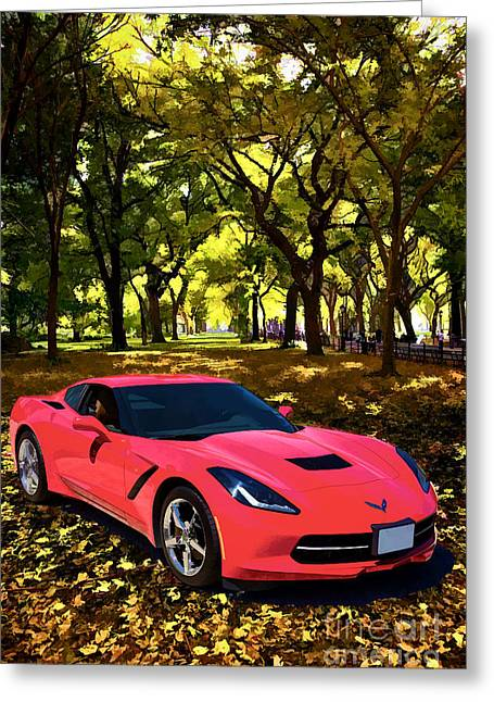 Fall Photographs Paintings Greeting Cards - 1974 Red Chevrolet Corvette In the Park Painting Print 3479.02 Greeting Card by M K  Miller