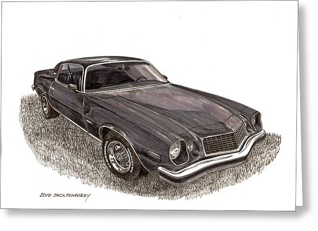 Art Of Muscle Greeting Cards - 1976 Camaro by Chevrolet Greeting Card by Jack Pumphrey